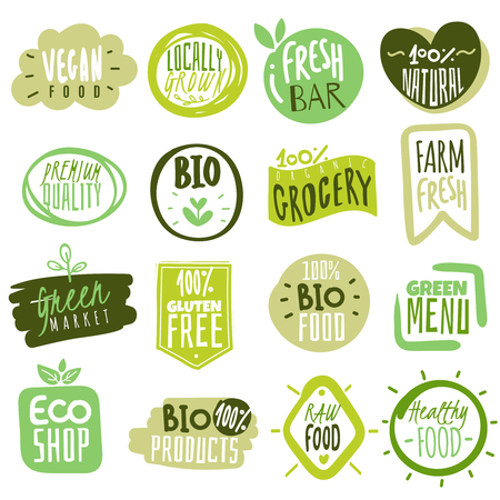 Etiketten für Bio-Lebensmittel. Natürliche gesunde Mahlzeit, frische Diätprodukte, Symbolaufkleber. Öko-Lebensmittel auf dem Bauernhof.