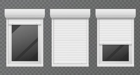 Rolling shutters. Windows roller blind metal frame, white jalousie, facade house safety office close window