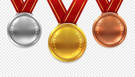 Realistic medal set. Gold bronze and silver medals with red ribbons isolated on transparent background, award collection
