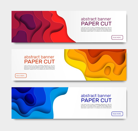 Paper cut banners. Abstract paper shapes, curved layers with shadow. Geometric wave cutting papers art creative vector banner templates Archivio Fotografico - 124983469