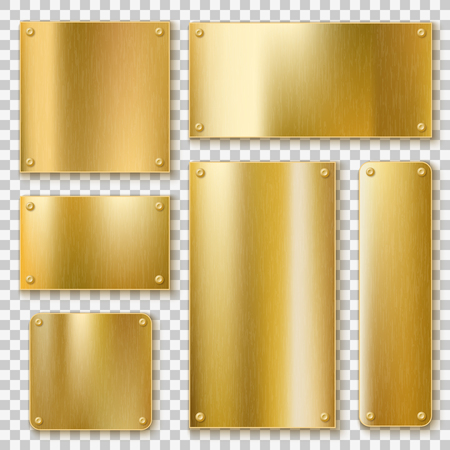 Golden plates. Gold metallic yellow plate, shiny bronze banner. Polished textured blank metal label with screws realistic vector templates Çizim