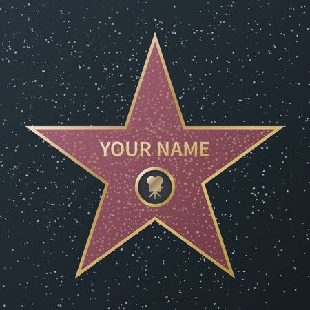 Hollywood walk of fame star. Movie celebrity boulevard oscar award, granite street stars of famous talent actors, success films, vector image