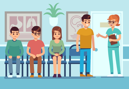 Patients in doctors waiting room. People wait hall clinic corridor hospital ambulance professional service, sitting person flat vector illustration