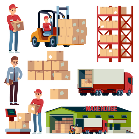 Warehouse flat elements. Logistic transportation and forklift, delivery cargo truck. Loader with boxes distribution isolated vector cartoon set