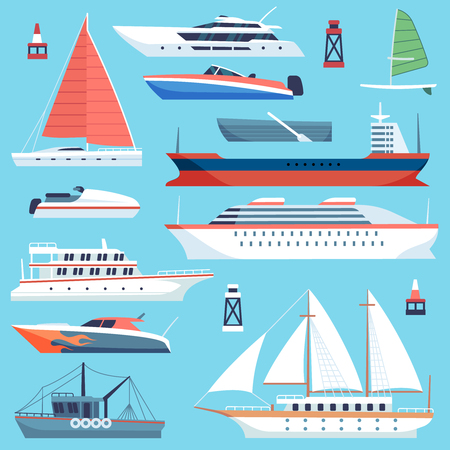Ships boats flat. Maritime transport, ocean cruise liner ship, yacht with sail. Large sea vessels cargo barge flat vector set Illustration