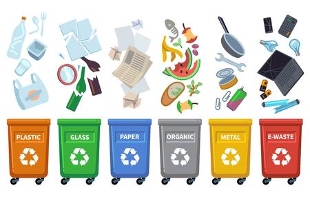 Recycler les poubelles. Différents types de poubelles conteneurs de couleur tri des déchets papier poubelle organique peut bouteille en plastique en verre pour le recyclage concept vectoriel Vecteurs
