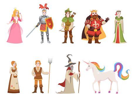 Średniowieczne postacie historyczne. Rycerz król królowa książę księżniczka bajkowy zamek królewski smok koń wiedźma zestaw kreskówka, kolekcja wektorów fantasy