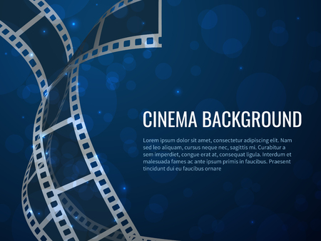 Film strip roll poster. Movie production with realistic blank negative film frames and text. Vector cinema filmstrip background Ilustração