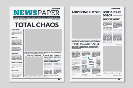 Newspaper template. Column articles newsprint background. Pressed paper newspaper printed sheets with headline. Vector editorial print layout Banco de Imagens - 124983484