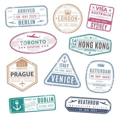 Pieczęć podróży. Vintage paszport wiza międzynarodowa przybył znaczki z grunge tekstur. Izolowany zestaw wektorów do tłoczenia