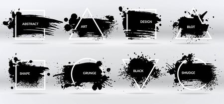 Ink blots. Abstract shapes, frames with black brushstroke grunge texture. Isolated border on inkblot vector set