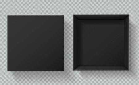 Blackbox-Verpackung. Ansicht von oben geöffnete und geschlossene Geschenkboxen. Leeres schwarzes Kartonpaket 3d Vektormodell des leeren Kartons