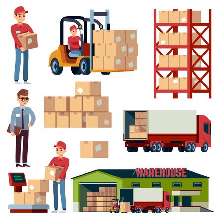 Elementi piani di magazzino. Trasporto logistico e carrello elevatore, camion del carico di consegna. Caricatore con set di cartoni animati vettore isolato distribuzione scatole