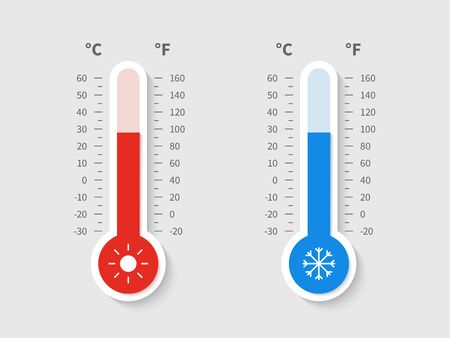 Cold warm thermometer. Temperature weather thermometers meteorology celsius fahrenheit scale, temp control thermostat device flat vector icon Imagens - 124983397