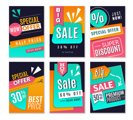 Discount posters. Promotional fashion marketing backgrounds, sale advertising offer flyers. Online newsletter vector for market signage