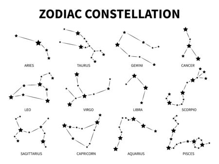 Zodiac constellation. Aries taurus gemini cancer leo virgo libra scorpio pisces zodiacal mystic astrology vector black isolated horoscope signs Stock Illustratie