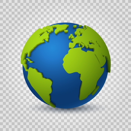 Globe 3d. Earth world map of green space planet. Global digital communication modern realistic sphere vector concept
