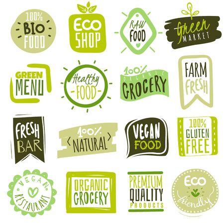 Organic food labels. Natural meal fresh products logo. Ecology healthy farm bio food vector green premium badges Ilustração