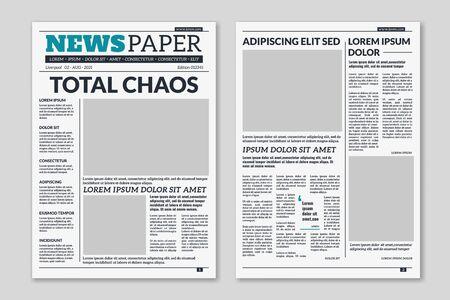 Modello di giornale. Sfondo di carta da giornale di articoli di colonna. Fogli stampati di giornali di carta pressata con titolo. Layout di stampa editoriale vettoriale Vettoriali