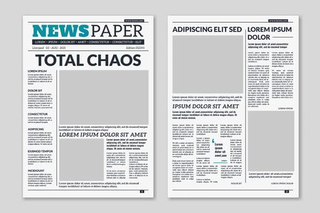 Newspaper template. Column articles newsprint background. Pressed paper newspaper printed sheets with headline. Vector editorial print layout Vetores