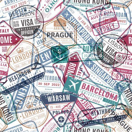 Travel stamp pattern. Vintage traveler passport airport visa arrived stamps. Traveling world vacation seamless vector travelling texture Illustration