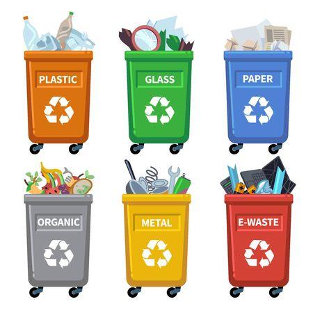 Kategorien von Abfallbehältern. Müll recyceln, Müllcontainer trennen. Organisches Papier, Kunststoff, Glas, Metall, gemischte Abfallvektortrennungstabelle