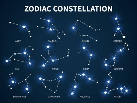 Zodiac constellation. Zodiacal horoscope mystic astrology vector symbols with glowing stars on durck blue background