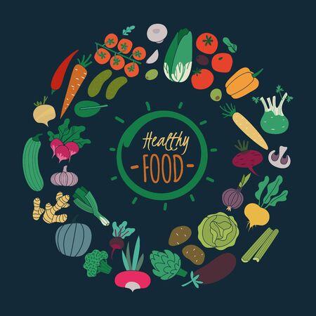 Vegetales planos. Color zanahoria cebolla pepino tomate patata berenjena para ensalada. Comida orgánica vegana aislada sobre fondo oscuro, colección de alimentos saludables de vector Ilustración de vector