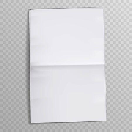 Blank newspaper sheet. Tabloid newsprint magazine. Media newspaper open pages. Daily press empty paper journal vector mockup