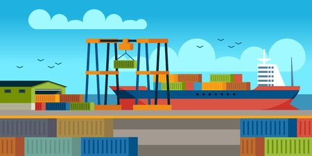 Ships in dock. Loading containers on cargo ship in seaport industrial terminal. Marine cargos transportation flat shipyard vector concept