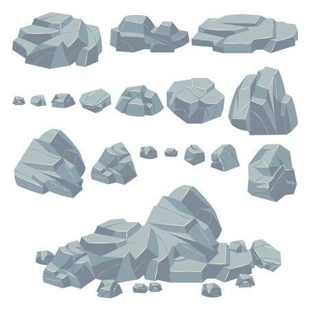 Piedras de roca. Rocas de piedra natural, cantos rodados masivos. Acantilado de adoquines de granito y montón de piedras para el paisaje de montaña. Conjunto de vector de objeto de grava de pila de dibujos animados