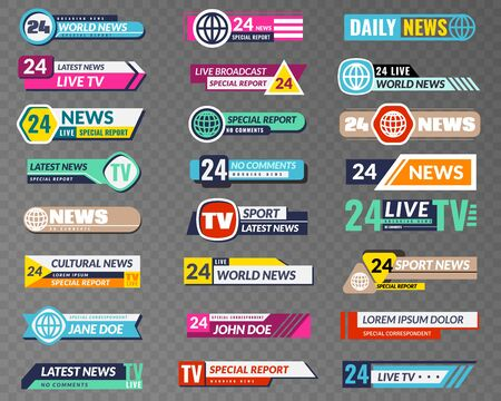 Tv banners. Broadcasting graphic interface, tv streaming lower bar title. News television channel screen header vector isolated video abstract broadcast hd show set Illustration