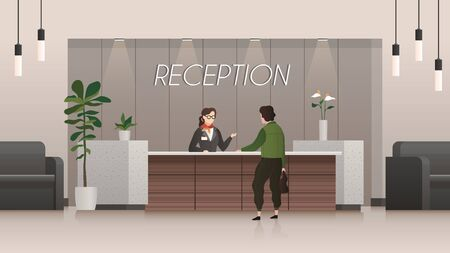 Reception service. Receptionist and customer in hotel lobby hall, people travelling. Business office flat vector tourist talking executive standing visit friendly concept Ilustrace