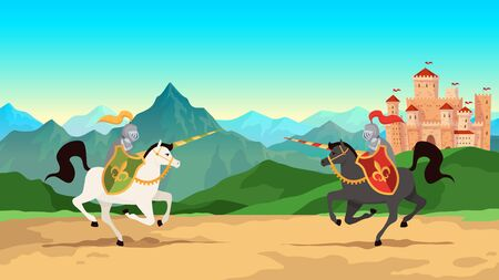 Knight tournament. Battle between medieval warriors in metal armour with lance weapons riding horses. Historical knightly war, jousting men cartoon vector background Illustration