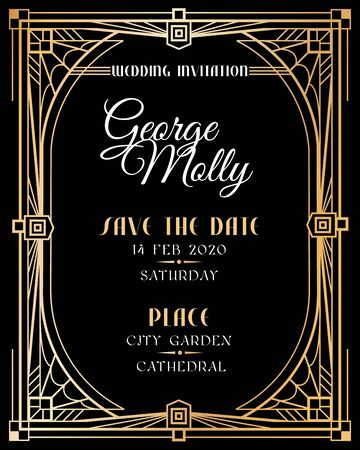Art deco invitation. Wedding art deco card with gold frame border, classic 1920s retro style luxury art. Golden abstract vector mockup of fashion framed backdropwith vintage text