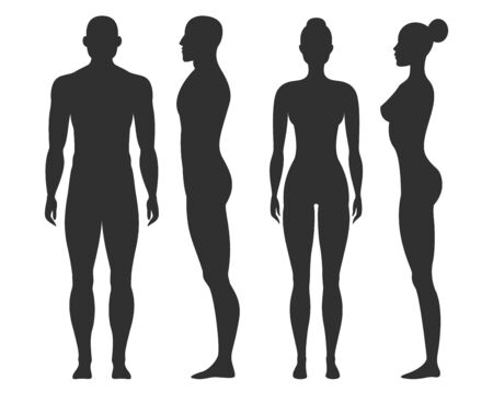 Man and woman silhouettes. Human body outline shapes in side and front view. Standing male and female figures vector isolated stand guy naked fitness collection