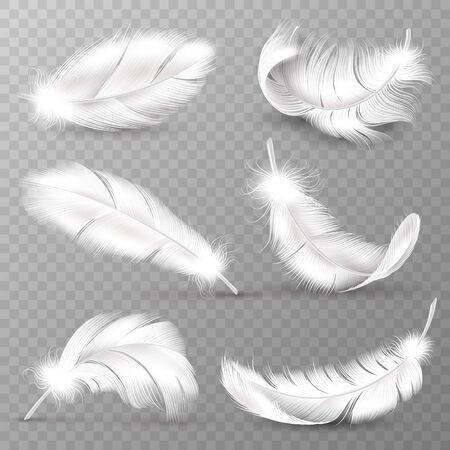 Realistische witte veren. Vogels verenkleed, vallende pluizige gedraaide veren, vliegende veren van engelenvleugels. Realistische geïsoleerde vector gemakkelijk transparante gans dierlijke pluim logo set