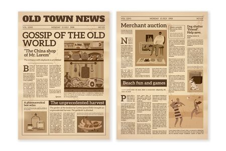 Retro newspaper. Daily news articles yellow newsprint old magazine. Media newspaper pages. Vintage paper journal vector background, illustration of press business styles wallpaper
