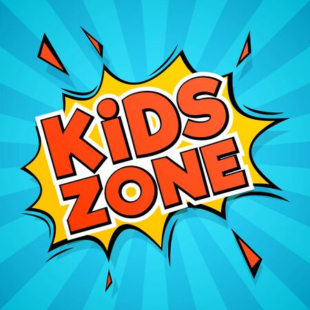 Kids zone. abstract colors cartoon children logo for stickers and playing room, playground and banner design isolated vector baby recreation image 일러스트
