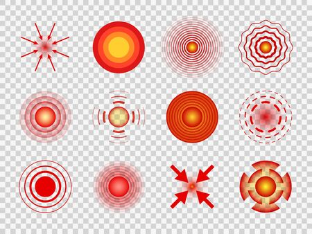Red pain circles. Local pain spots, joint and muscles pains. Migraine and belly hurt, headaches medicine healing vector painful symbols, health muscular concentrate pointing target medicin logo Stok Fotoğraf - 130071699
