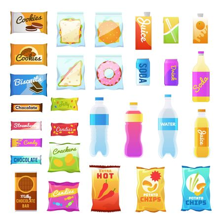 Vending products. Beverages and snack plastic package, fast food snack packs, biscuit sandwich. Drinks water juice flat vector cracker chips and snacking junk bar icons Stock Vector - 126378558