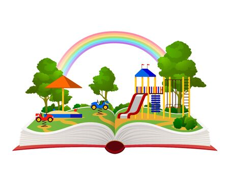 Open book playground. Fantasy garden, learning amusement park green forest library, child books daydream landscape flat vector holiday cartoon playing children storybook page concept
