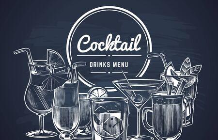Fondo de cóctel de bosquejo. Menú de bar de bebidas de cócteles de alcohol dibujados a mano, bebidas frías del restaurante. Vector dibujo de limón bebida larga grabar diseño de coctalis