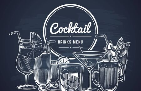 Sketch cocktail background. Hand drawn alcohol cocktails drinks bar menu, cold drinking restaurant beverages set. Vector lemon drawing long drink engrave coctalis design