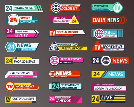 Tv title. Broadcasting banner graphic interfaces, tv streaming lower bar. Breaking, fake and sport news screen header vector isolated symbols game strip display templates Ilustração