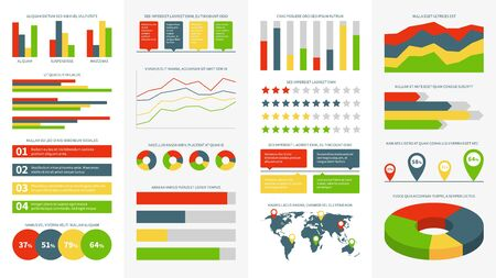 Infographics elements. Info charts, diagrams and graphs. Flowchart and timeline for business report presentation vector infographic, design progress icons and marketing circle set