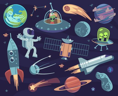 Cartoon space set. Cute astronauts and ufo aliens, satellite planets and stars. Meteorite and spaceship kids wallpapers vector comic doodle asteroid and sputnik, comet and fantastic moon print 일러스트