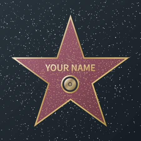 Hollywood walk of fame star. Movie celebrity boulevard award, granite street stars of famous talent actors, success films, vector image