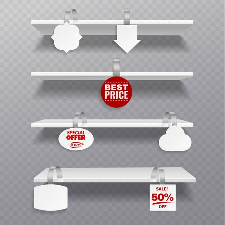 Wobbler shelves. Retail rack bibliotheque shelf box blank shelves with advertising priced hanging clear plastic sticker vector merchandise visibility marketing set