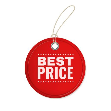 Hanging paper offer label. Red round vintage price cutting 3d tag hang for special discount sales vector retro promo sign for store template Foto de archivo - 130071115